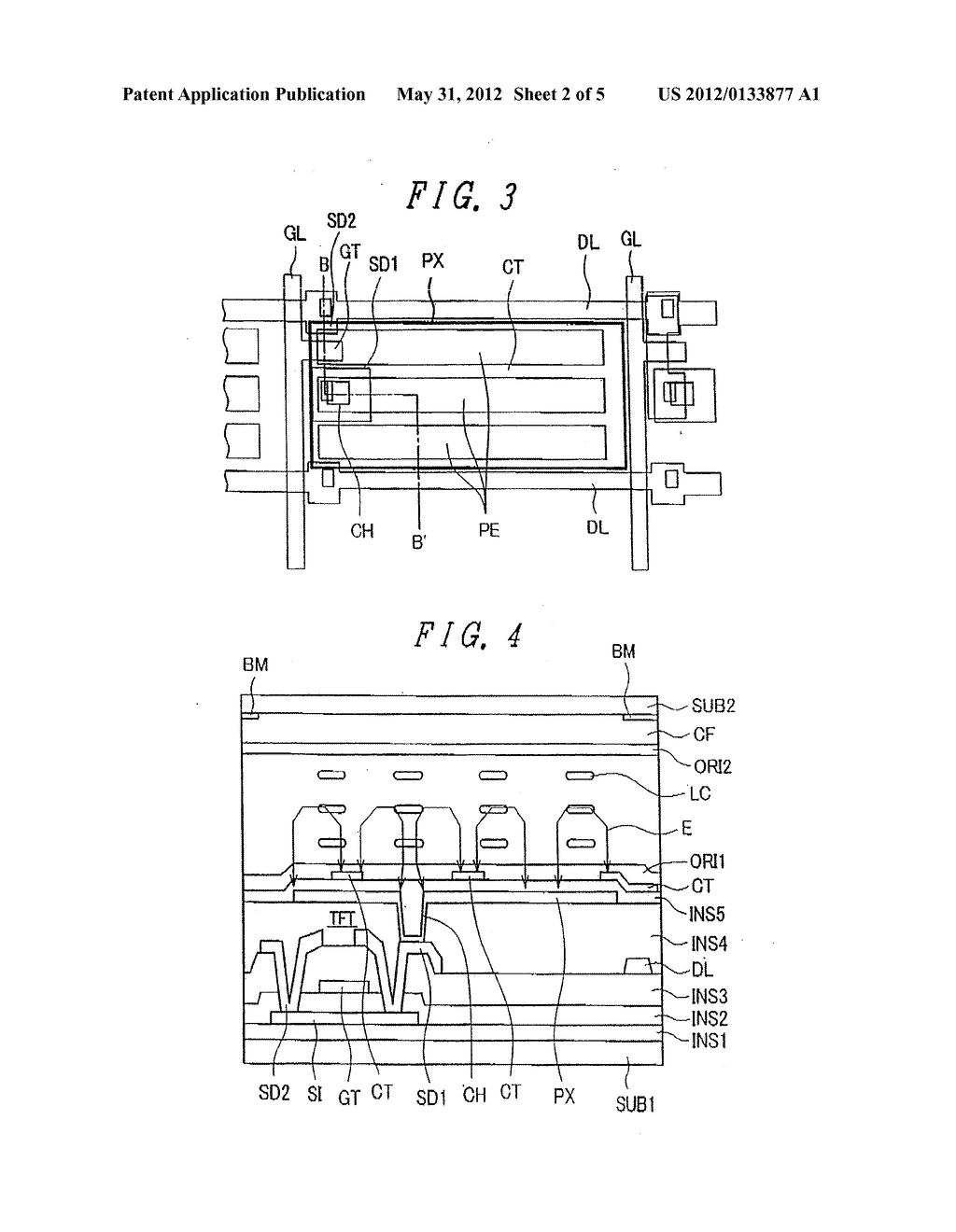 Liquid Crystal Display Device Having Rectangular-Shaped Pixel Electrodes     Overlapping with Comb-Shaped Counter Electrodes in Plan View - diagram, schematic, and image 03