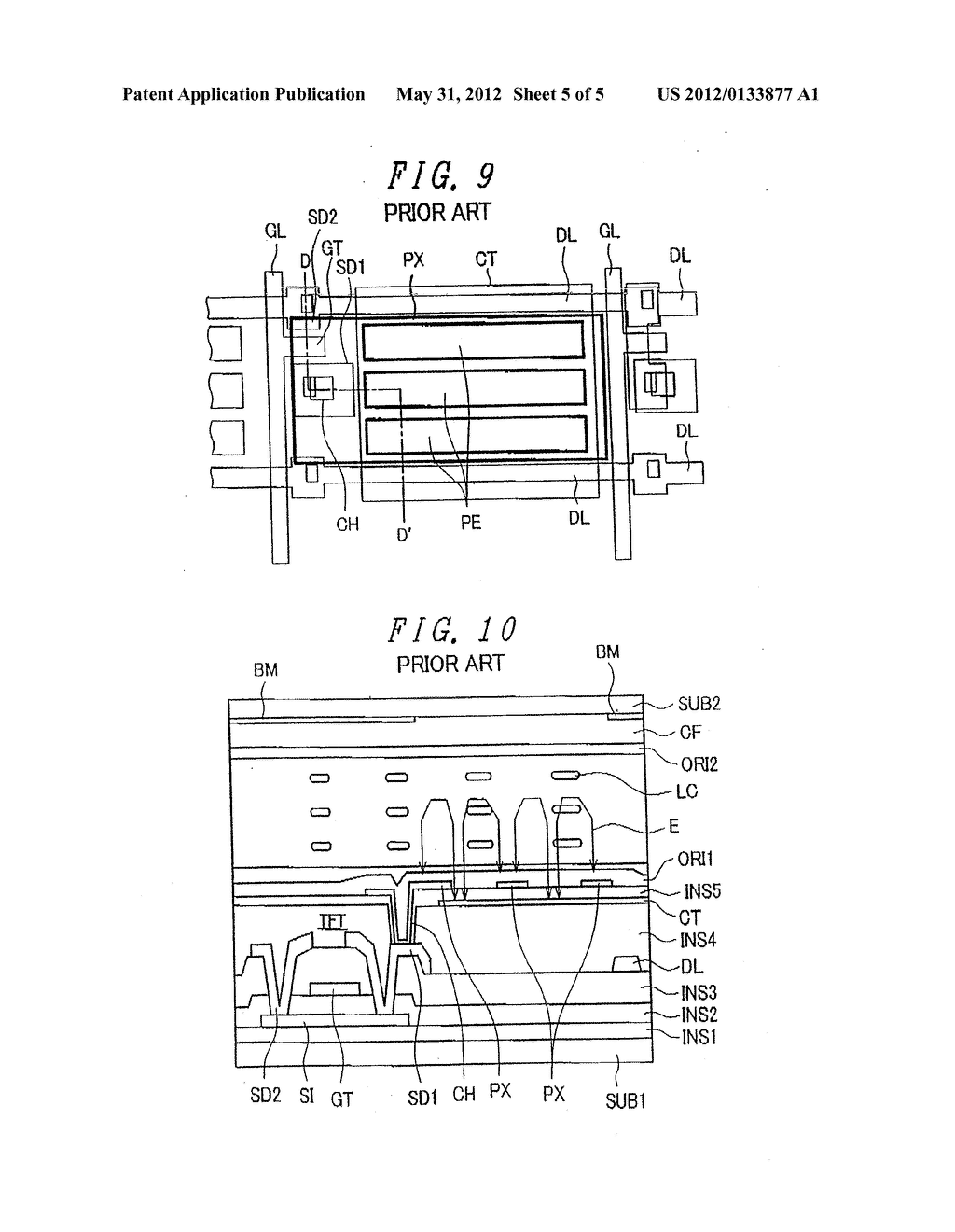 Liquid Crystal Display Device Having Rectangular-Shaped Pixel Electrodes     Overlapping with Comb-Shaped Counter Electrodes in Plan View - diagram, schematic, and image 06