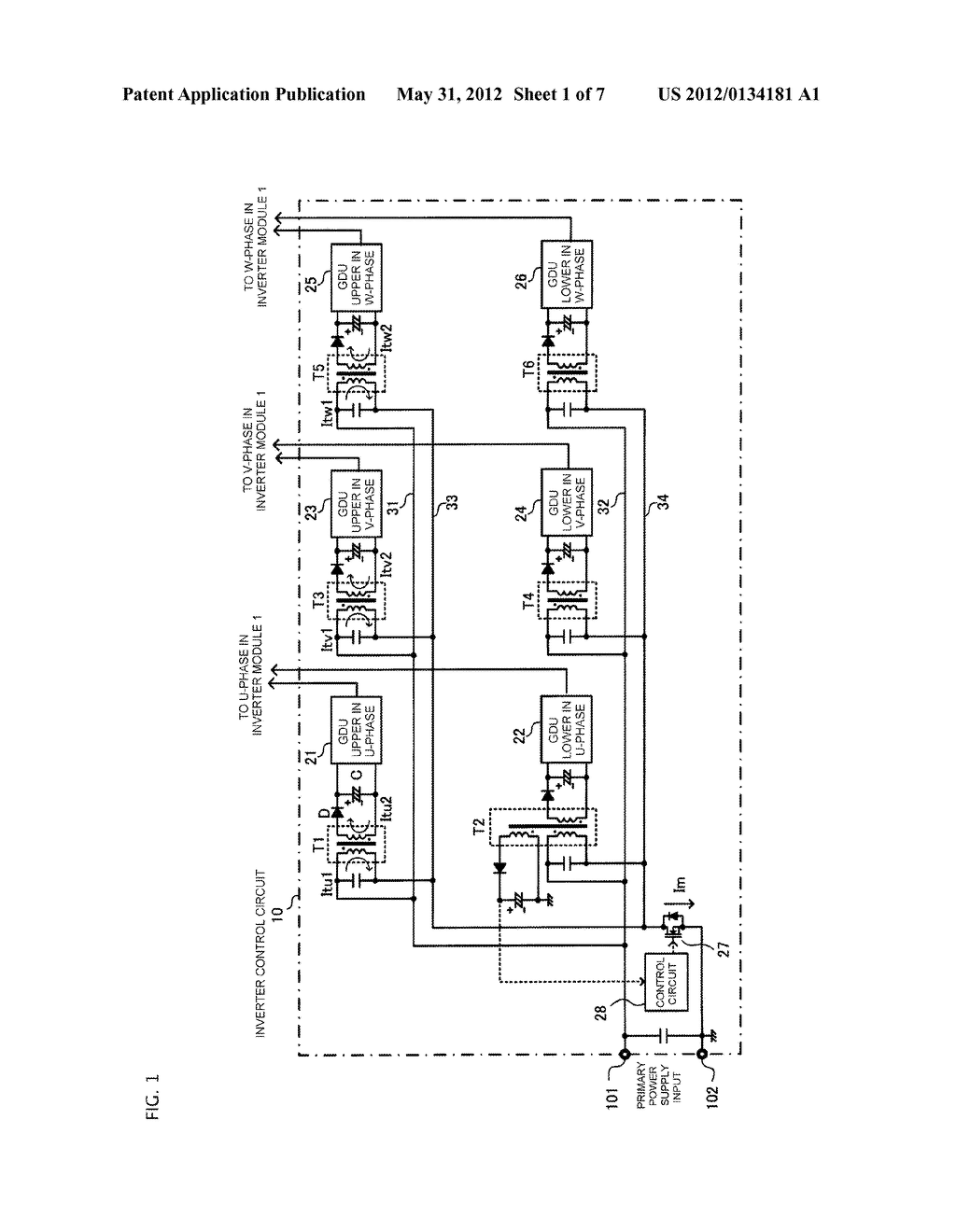 GATE DRIVING POWER SUPPLY SYSTEM AND INVERTER CONTROL CIRCUIT - diagram, schematic, and image 02