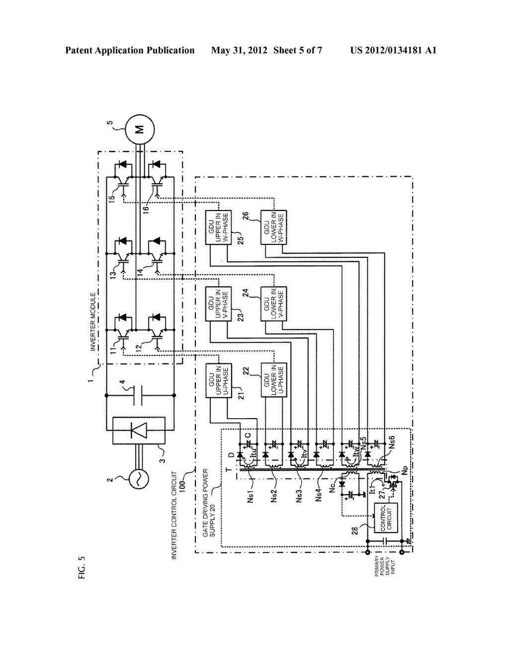GATE DRIVING POWER SUPPLY SYSTEM AND INVERTER CONTROL CIRCUIT - diagram, schematic, and image 06