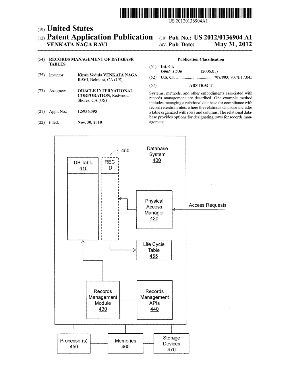 RECORDS MANAGEMENT OF DATABASE TABLES - diagram, schematic, and image 01