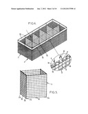 GABION ELEMENTS FOR PRODUCING CONSTRUCTIONS SUCH AS WALLS, BARRICADES  AND     THE LIKE diagram and image