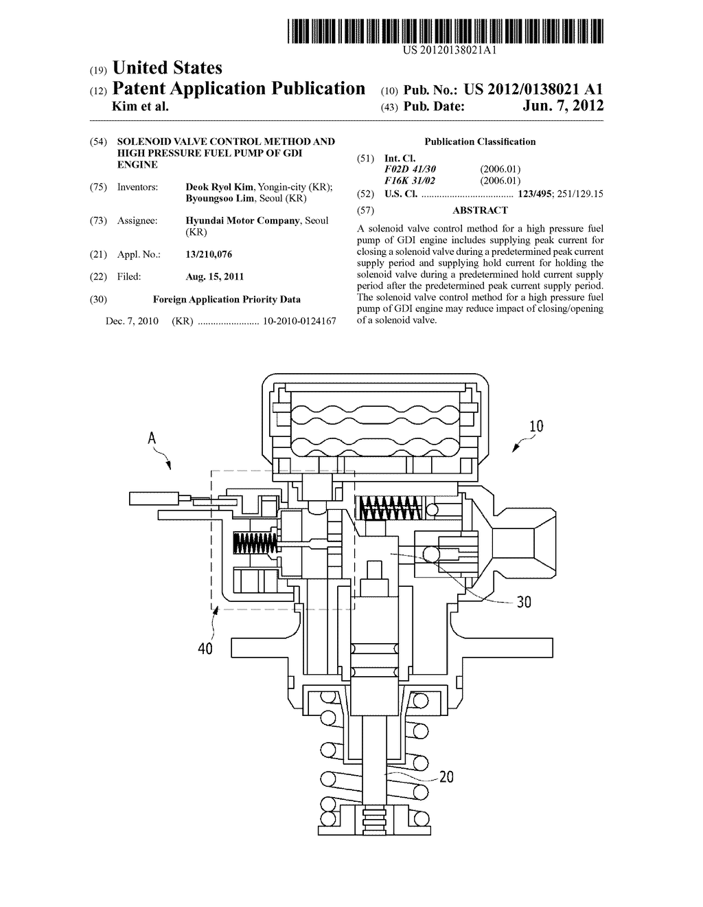 SOLENOID VALVE CONTROL METHOD AND HIGH PRESSURE FUEL PUMP OF GDI ENGINE -  diagram, schematic, and image 01