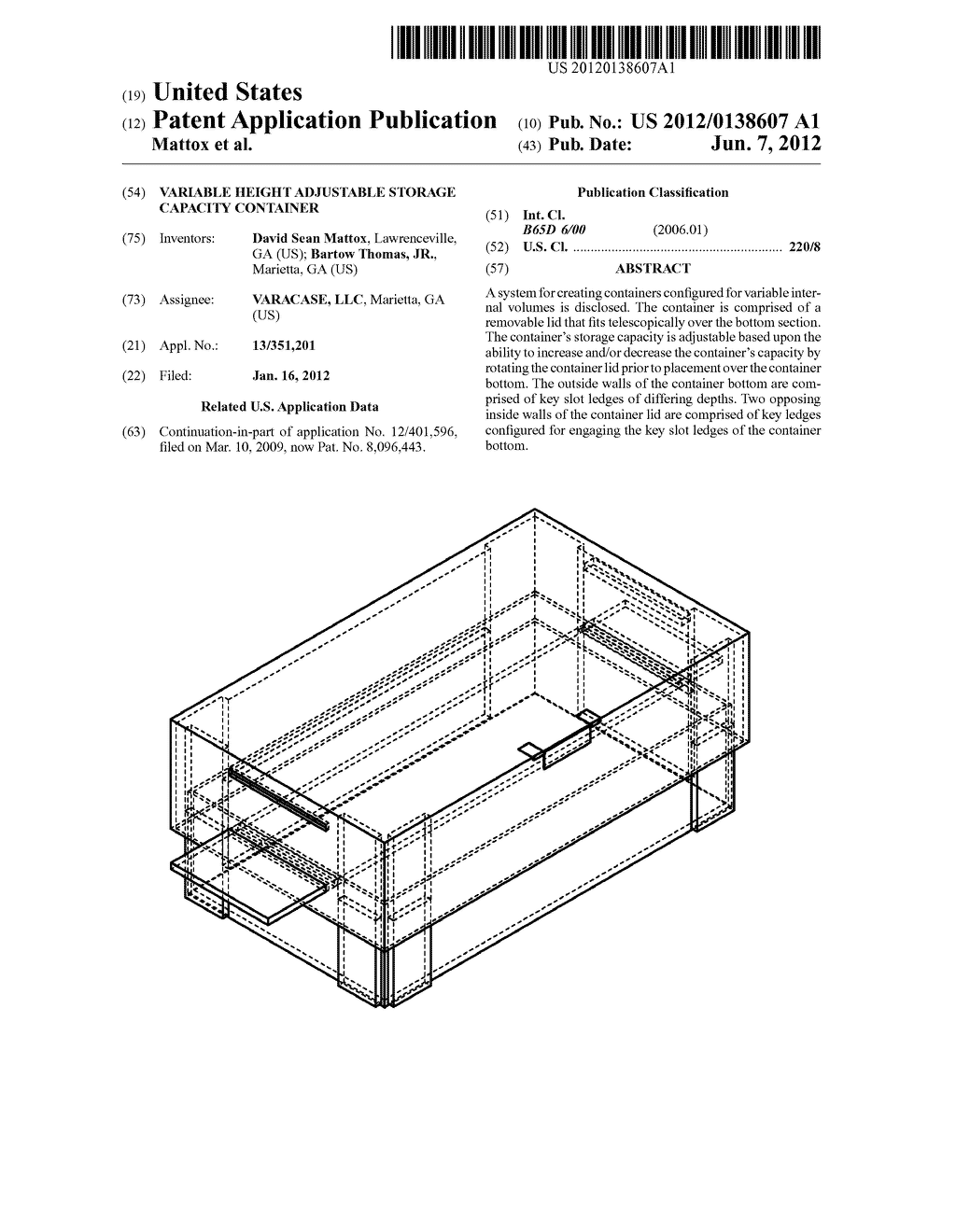 VARIABLE HEIGHT ADJUSTABLE STORAGE CAPACITY CONTAINER - diagram, schematic, and image 01