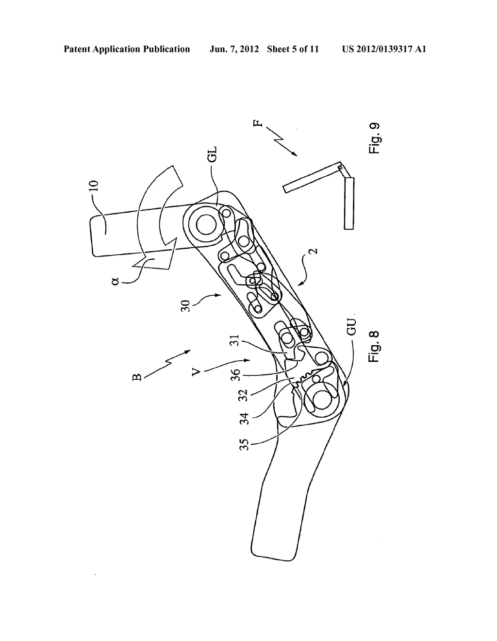 Motor Vehicle Seat and Method for Transferring a Seatback from the use     Position to a Stowed Position - diagram, schematic, and image 06