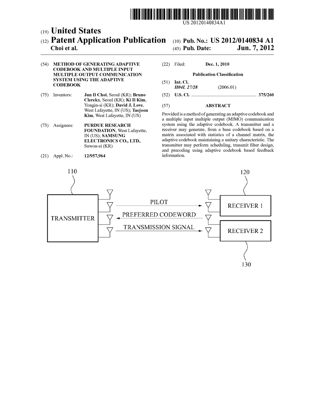 METHOD OF GENERATING ADAPTIVE CODEBOOK AND MULTIPLE INPUT MULTIPLE OUTPUT     COMMUNICATION SYSTEM USING THE ADAPTIVE CODEBOOK - diagram, schematic, and image 01