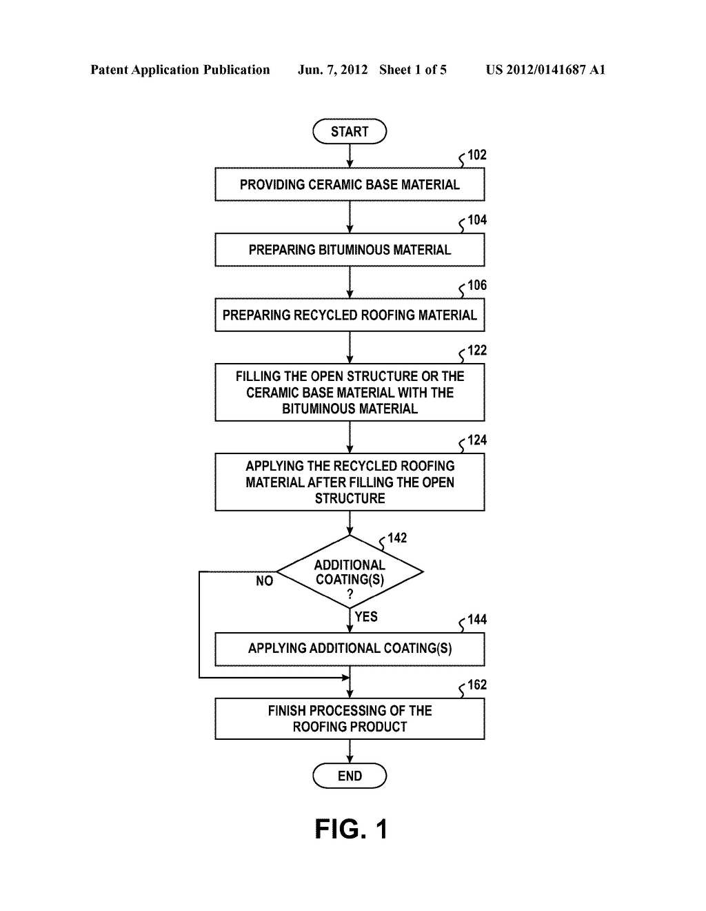 METHOD OF FORMING A ROOFING PRODUCT INCLUDING A CERAMIC BASE MATERIAL AND     RECYCLED ROOFING MATERIAL - diagram, schematic, and image 02
