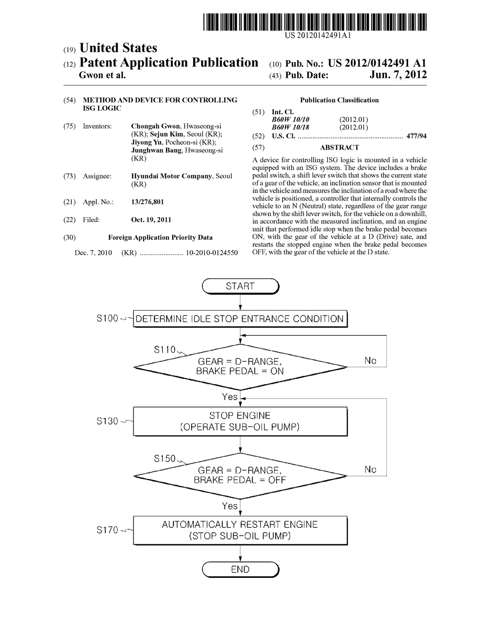 METHOD AND DEVICE FOR CONTROLLING ISG LOGIC - diagram, schematic, and image 01