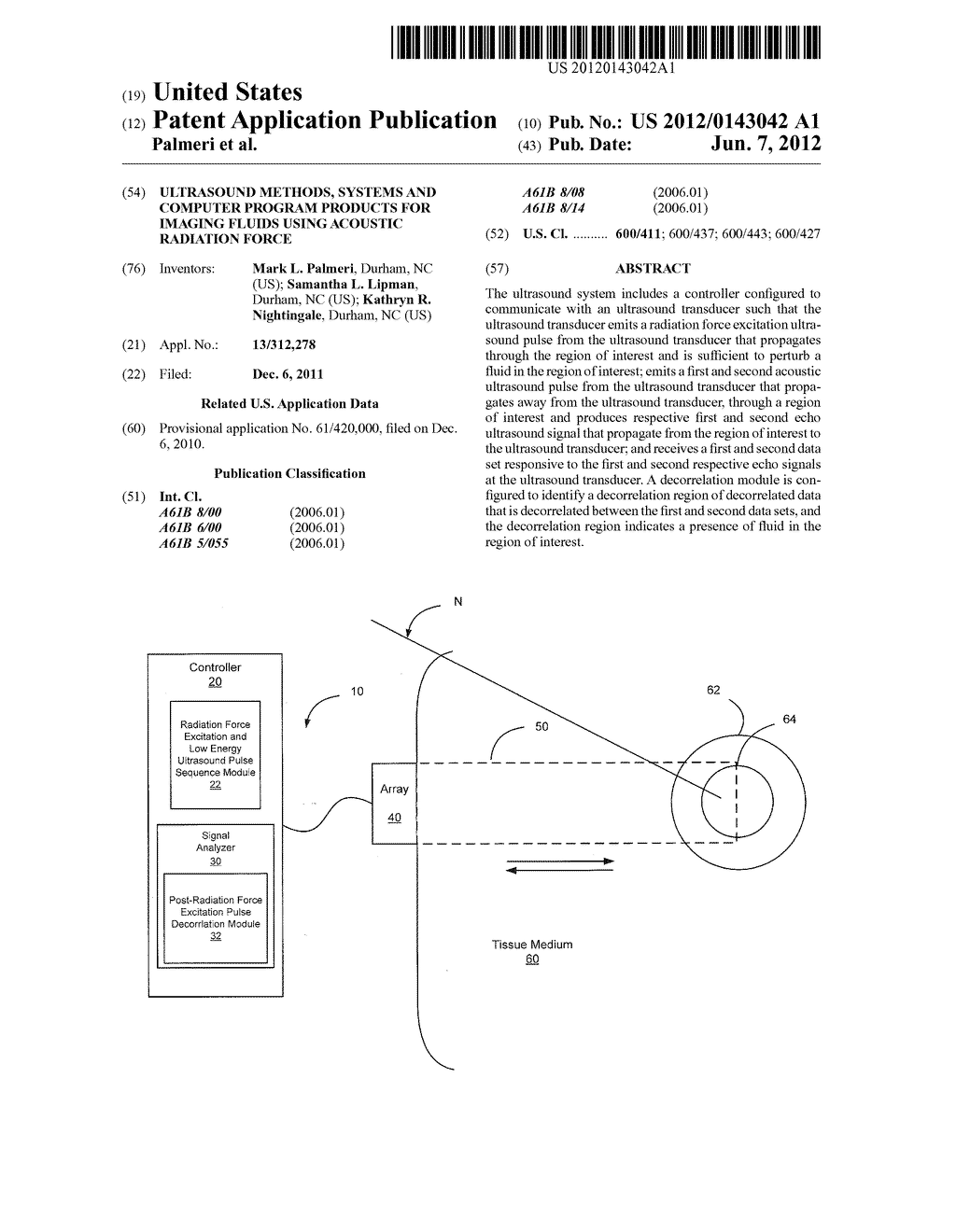 Ultrasound Methods, Systems and Computer Program Products for Imaging     Fluids Using Acoustic Radiation Force - diagram, schematic, and image 01