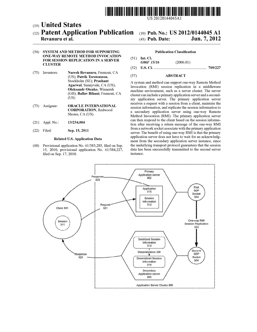 SYSTEM AND METHOD FOR SUPPORTING ONE-WAY REMOTE METHOD INVOCATION FOR     SESSION REPLICATION IN A SERVER CLUSTER - diagram, schematic, and image 01