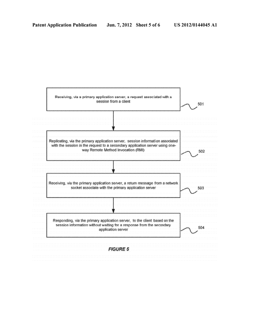 SYSTEM AND METHOD FOR SUPPORTING ONE-WAY REMOTE METHOD INVOCATION FOR     SESSION REPLICATION IN A SERVER CLUSTER - diagram, schematic, and image 06