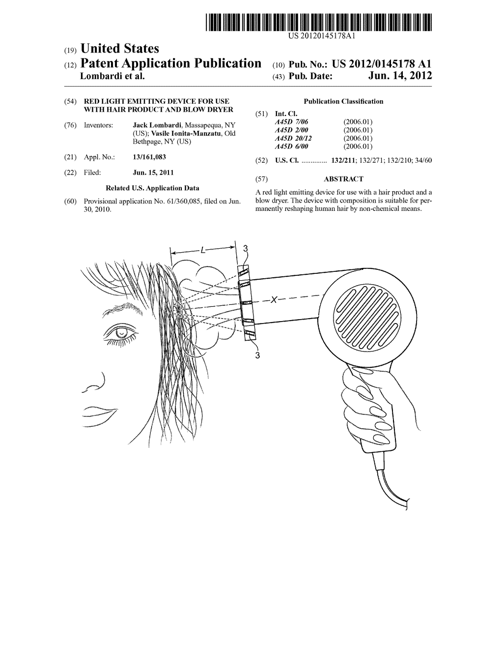 Red Light Emitting Device For Use With Hair Product And Blow Dryer ...