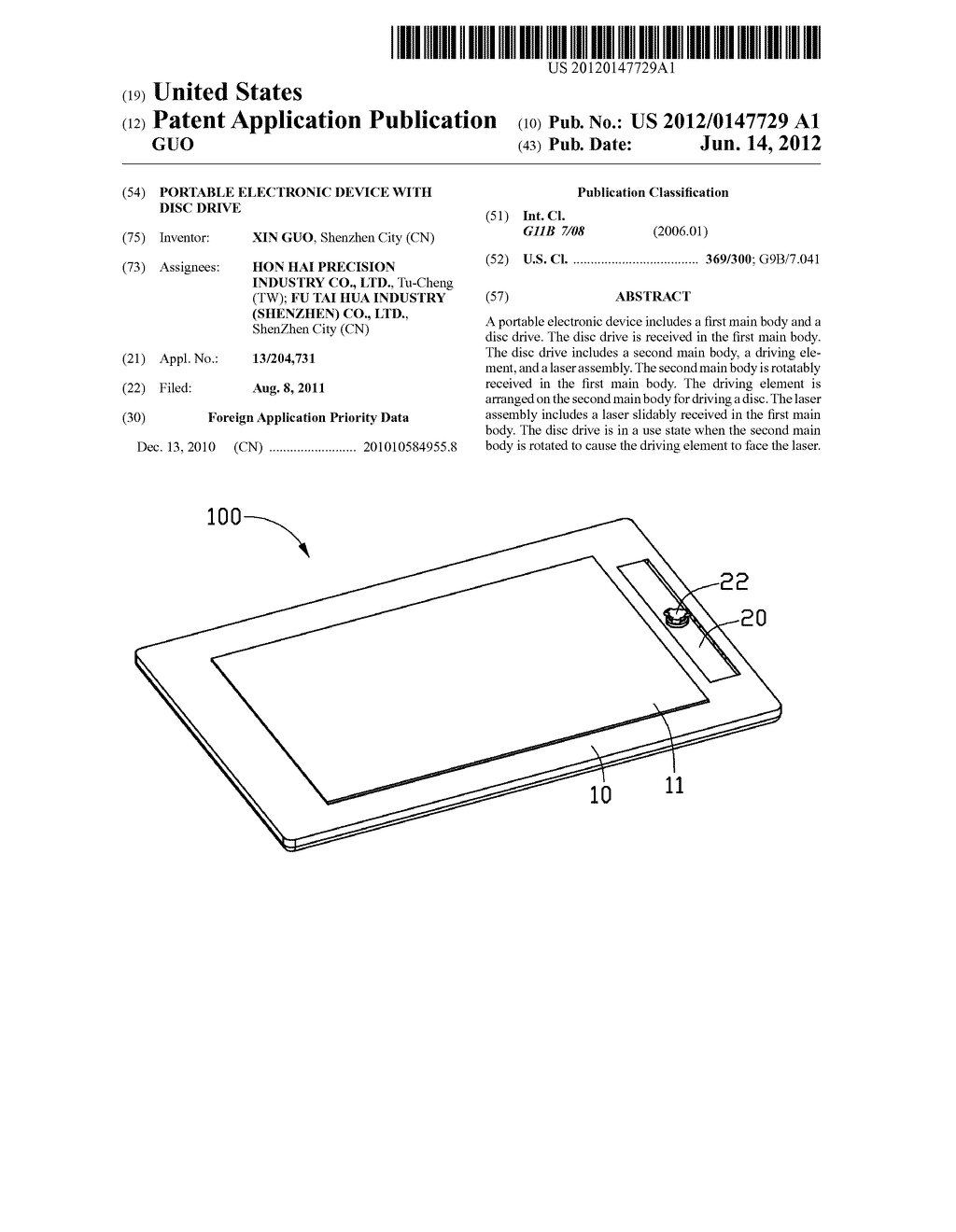 PORTABLE ELECTRONIC DEVICE WITH DISC DRIVE - diagram, schematic, and image 01