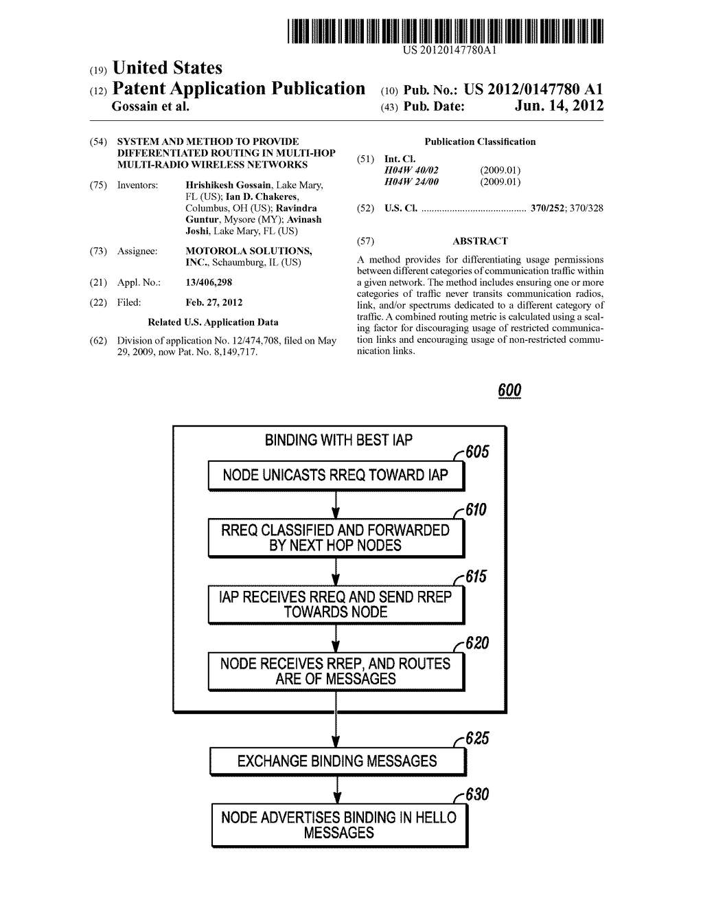 SYSTEM AND METHOD TO PROVIDE DIFFERENTIATED ROUTING IN MULTI-HOP     MULTI-RADIO WIRELESS NETWORKS - diagram, schematic, and image 01
