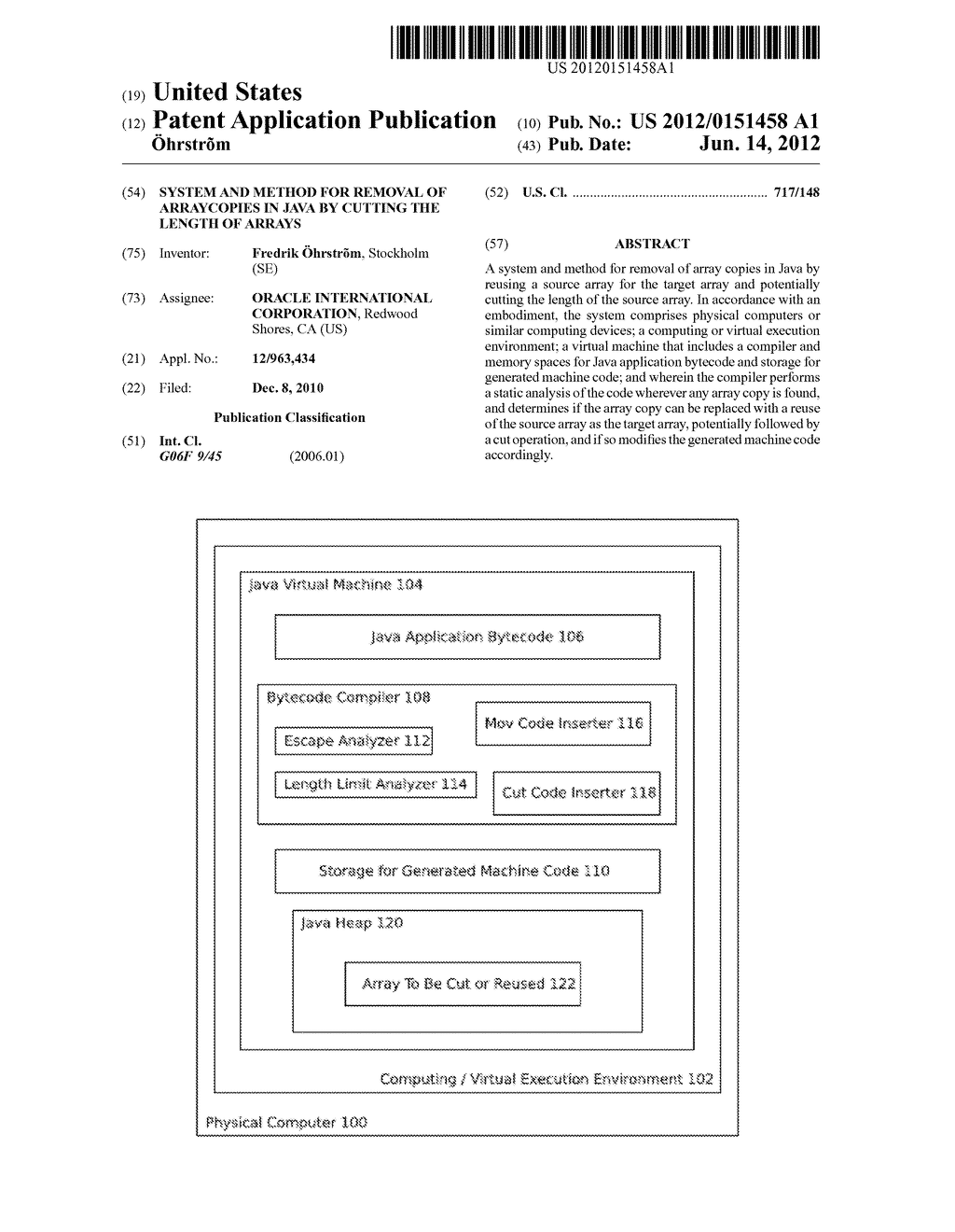 SYSTEM AND METHOD FOR REMOVAL OF ARRAYCOPIES IN JAVA BY CUTTING THE LENGTH     OF ARRAYS - diagram, schematic, and image 01