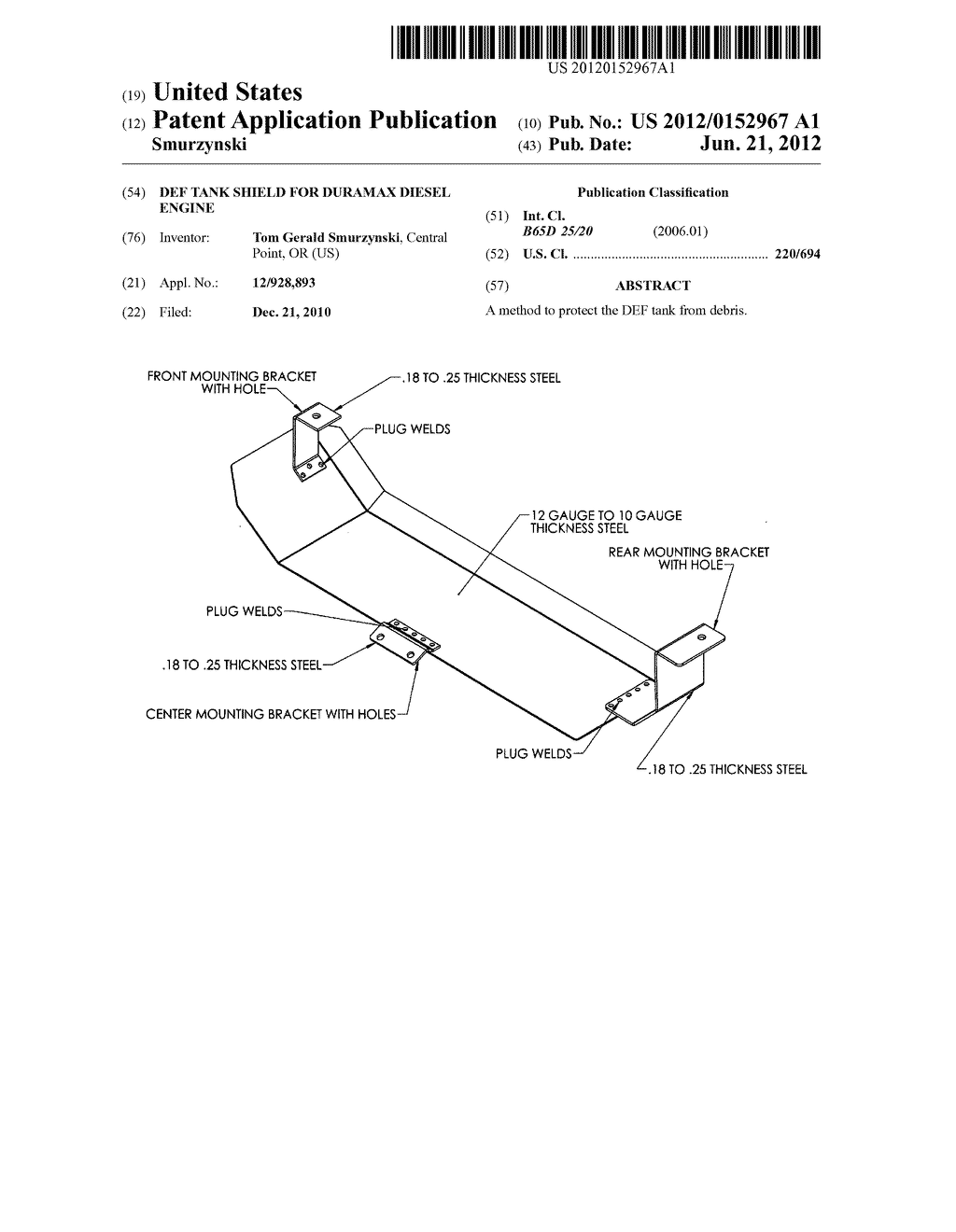 Def tank shield for duramax diesel engine - diagram, schematic, and image 01