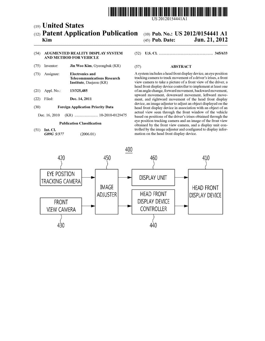 AUGMENTED REALITY DISPLAY SYSTEM AND METHOD FOR VEHICLE - diagram, schematic, and image 01