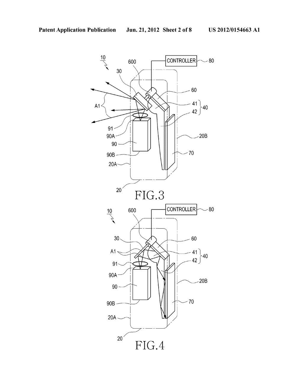 DUAL DISPLAY DEVICE FOR CAMERA APPARATUS HAVING PROJECTOR THEREIN - diagram, schematic, and image 03