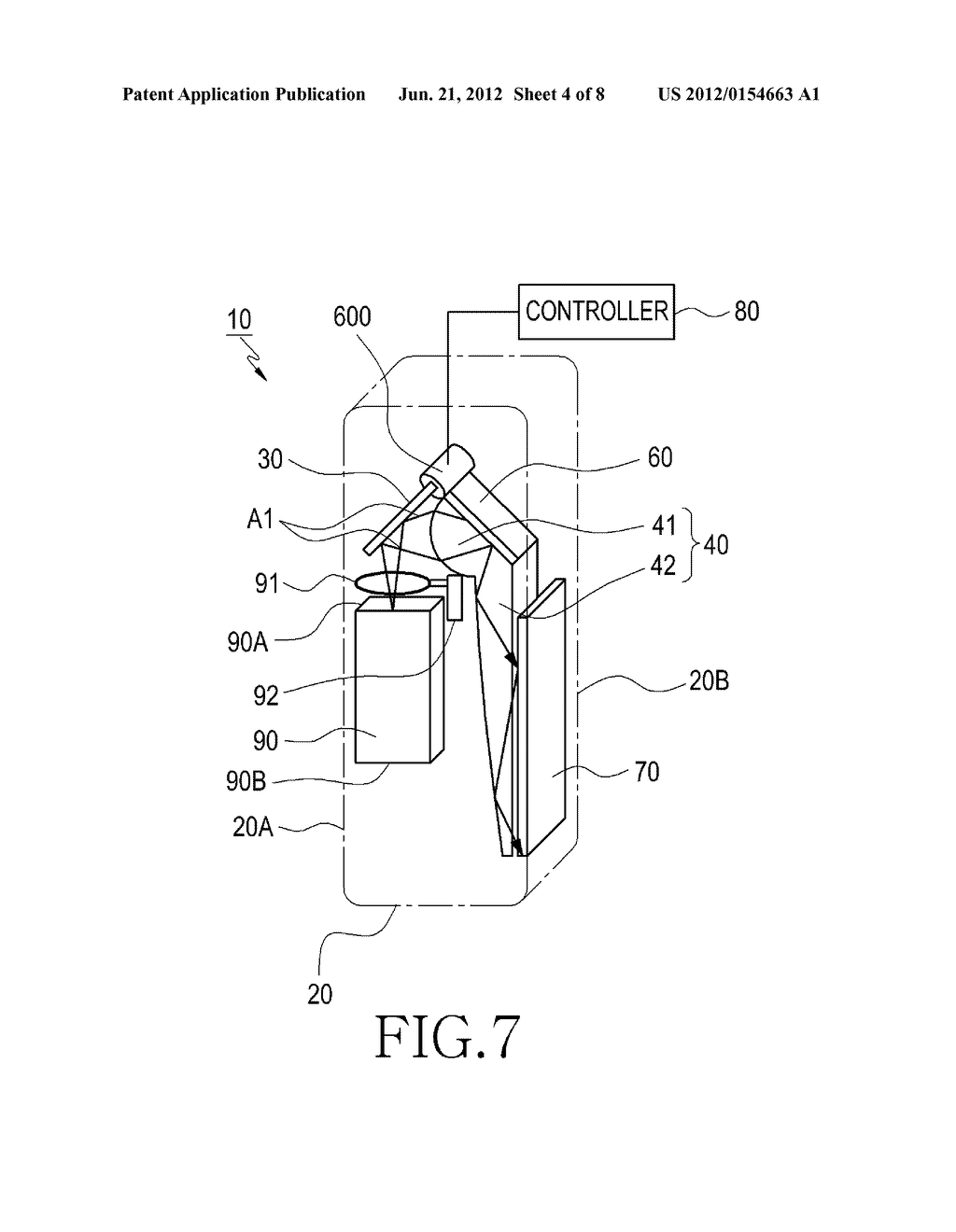 DUAL DISPLAY DEVICE FOR CAMERA APPARATUS HAVING PROJECTOR THEREIN - diagram, schematic, and image 05