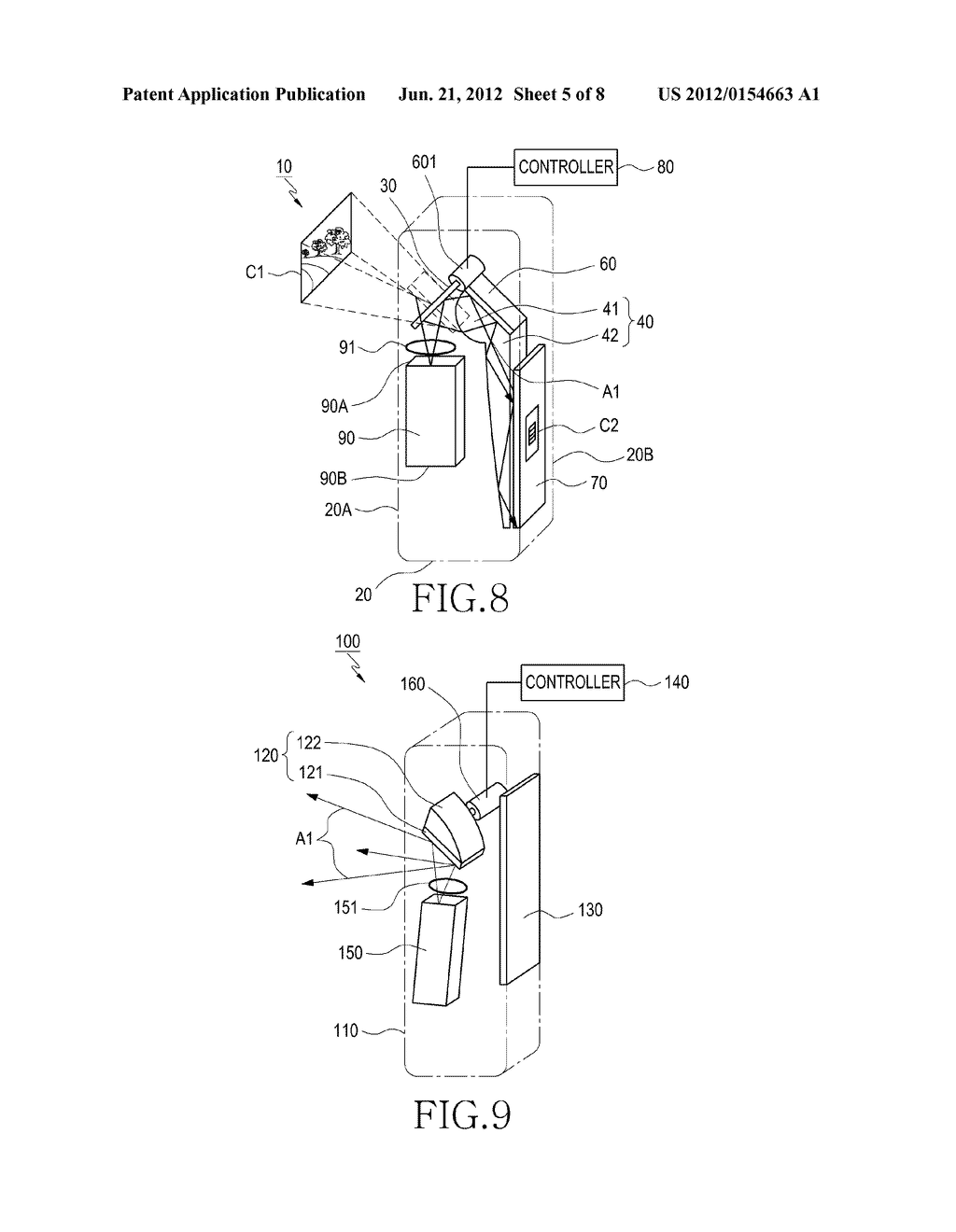 DUAL DISPLAY DEVICE FOR CAMERA APPARATUS HAVING PROJECTOR THEREIN - diagram, schematic, and image 06