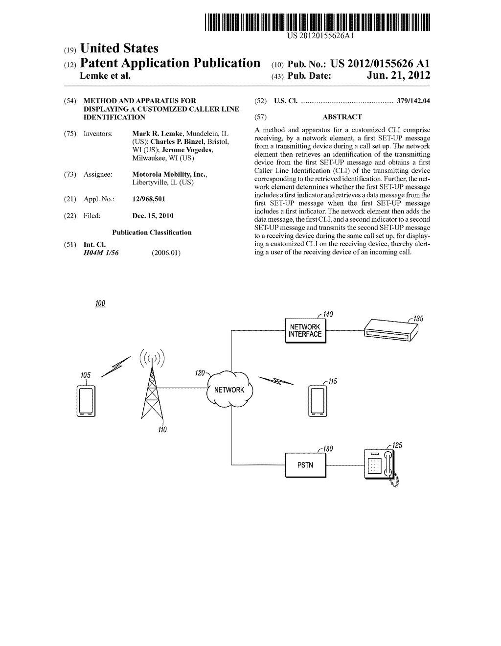 Method and Apparatus for Displaying a Customized Caller Line     Identification - diagram, schematic, and image 01