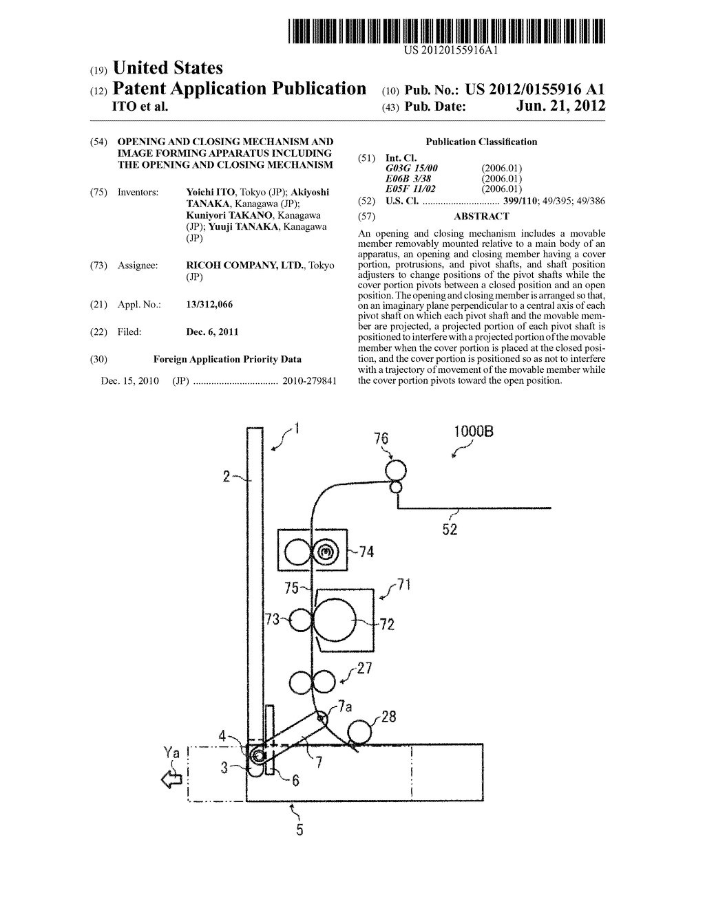 OPENING AND CLOSING MECHANISM AND IMAGE FORMING APPARATUS INCLUDING THE     OPENING AND CLOSING MECHANISM - diagram, schematic, and image 01