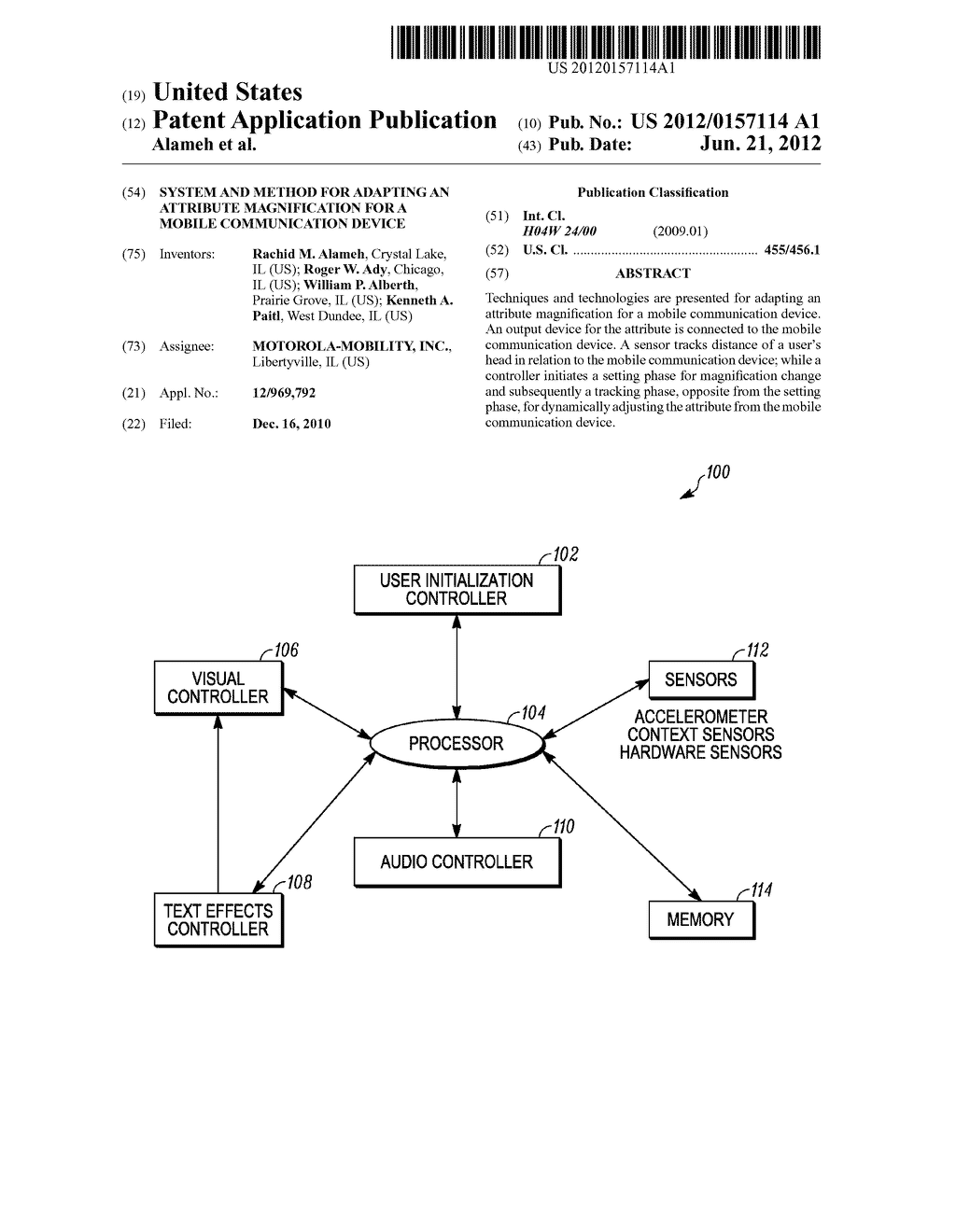 SYSTEM AND METHOD FOR ADAPTING AN ATTRIBUTE MAGNIFICATION FOR A MOBILE     COMMUNICATION DEVICE - diagram, schematic, and image 01