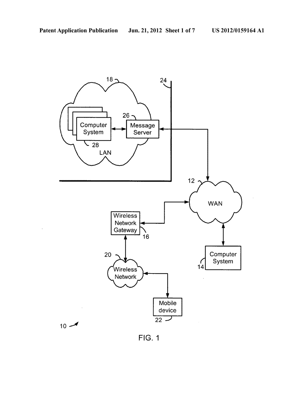 MESSAGE-HANDLING SERVER AND METHOD FOR HANDLING SECURE MESSAGE ATTACHMENTS     FOR A MOBILE DEVICE - diagram, schematic, and image 02