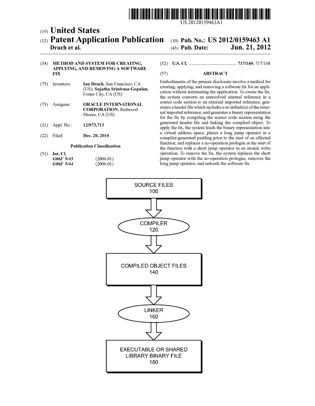 METHOD AND SYSTEM FOR CREATING, APPLYING, AND REMOVING A SOFTWARE FIX - diagram, schematic, and image 01