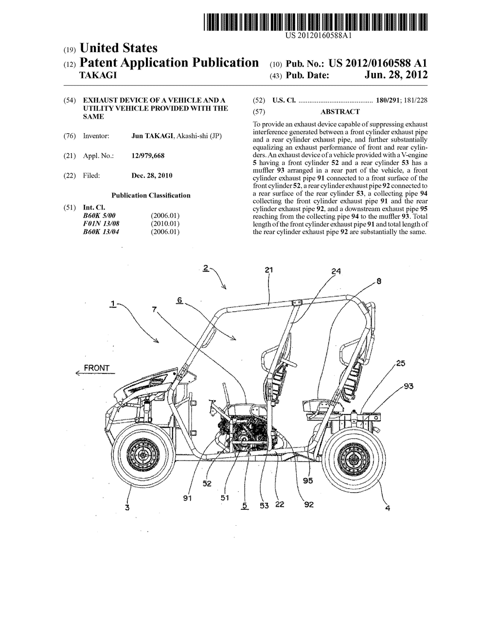 EXHAUST DEVICE OF A VEHICLE AND A UTILITY VEHICLE PROVIDED WITH THE SAME - diagram, schematic, and image 01