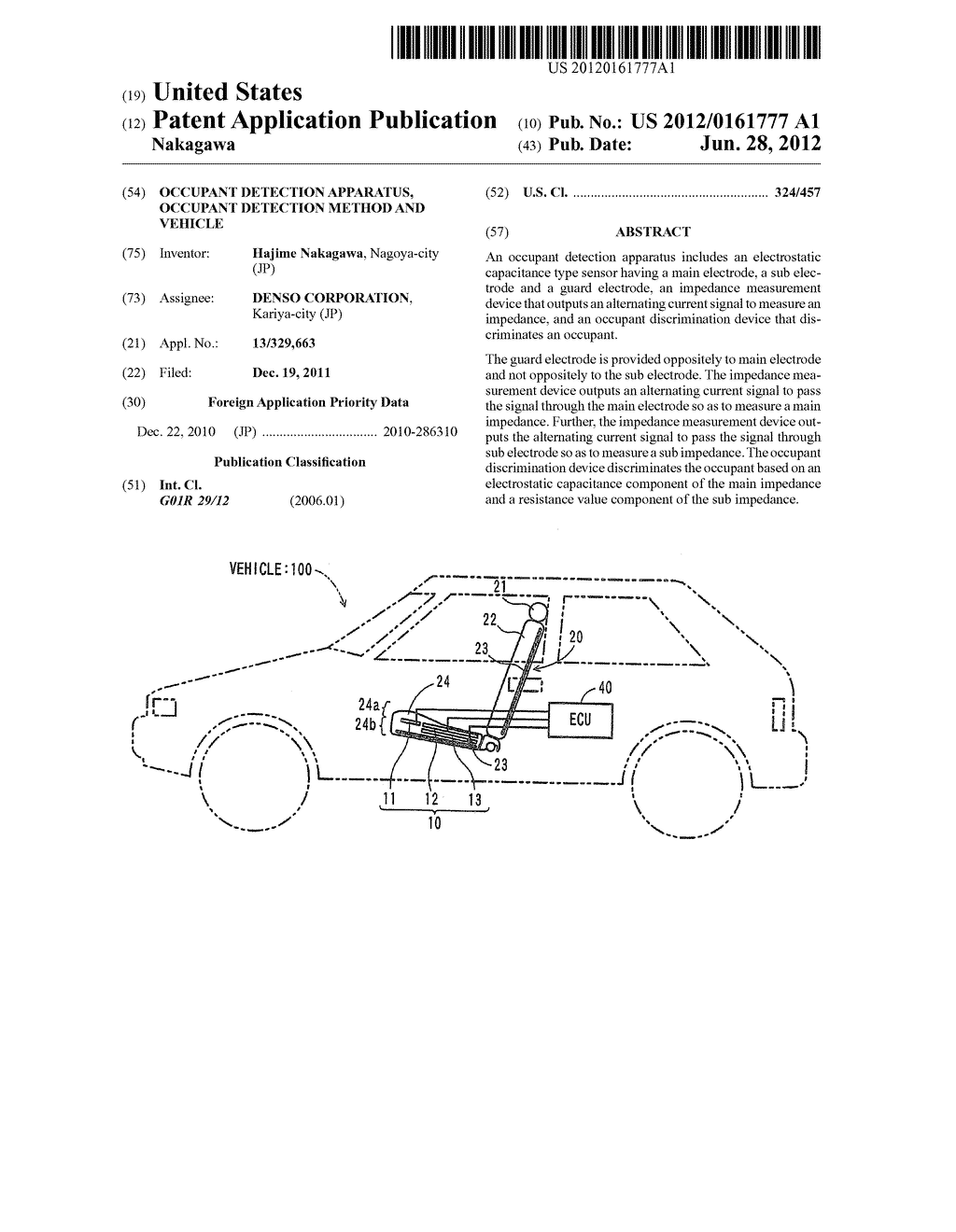 OCCUPANT DETECTION APPARATUS, OCCUPANT DETECTION METHOD AND VEHICLE - diagram, schematic, and image 01