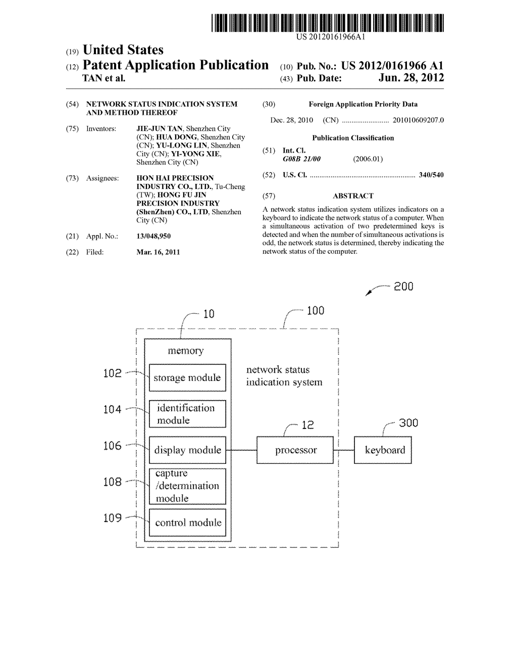 NETWORK STATUS INDICATION SYSTEM AND METHOD THEREOF - diagram, schematic, and image 01