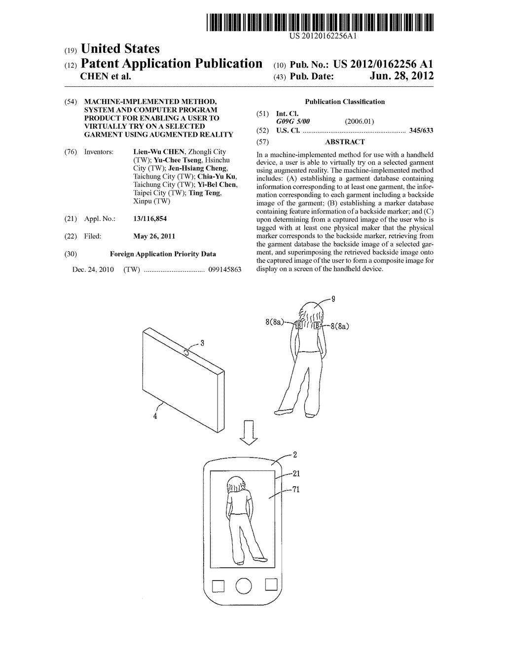 MACHINE-IMPLEMENTED METHOD, SYSTEM AND COMPUTER PROGRAM PRODUCT FOR     ENABLING A USER TO VIRTUALLY TRY ON A SELECTED GARMENT USING AUGMENTED     REALITY - diagram, schematic, and image 01