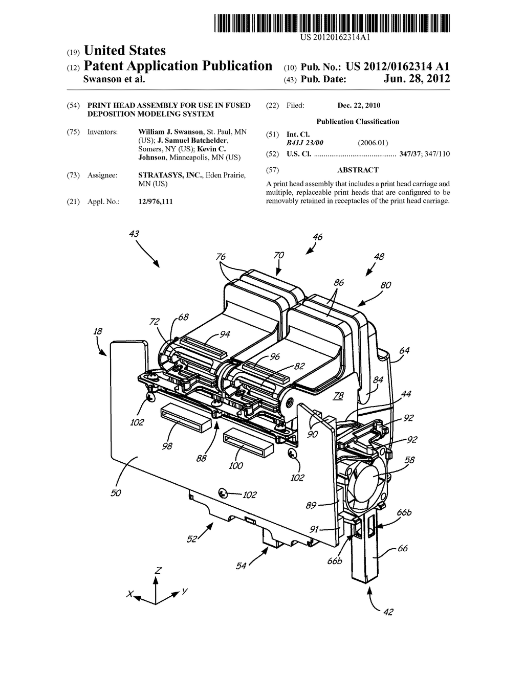 PRINT HEAD ASSEMBLY FOR USE IN FUSED DEPOSITION MODELING SYSTEM - diagram, schematic, and image 01