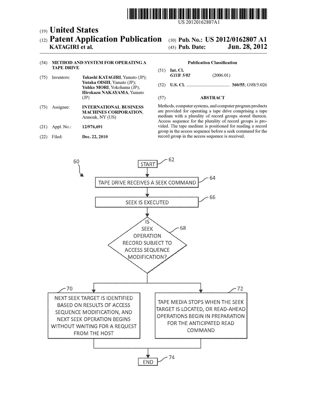 METHOD AND SYSTEM FOR OPERATING A TAPE DRIVE - diagram, schematic, and image 01