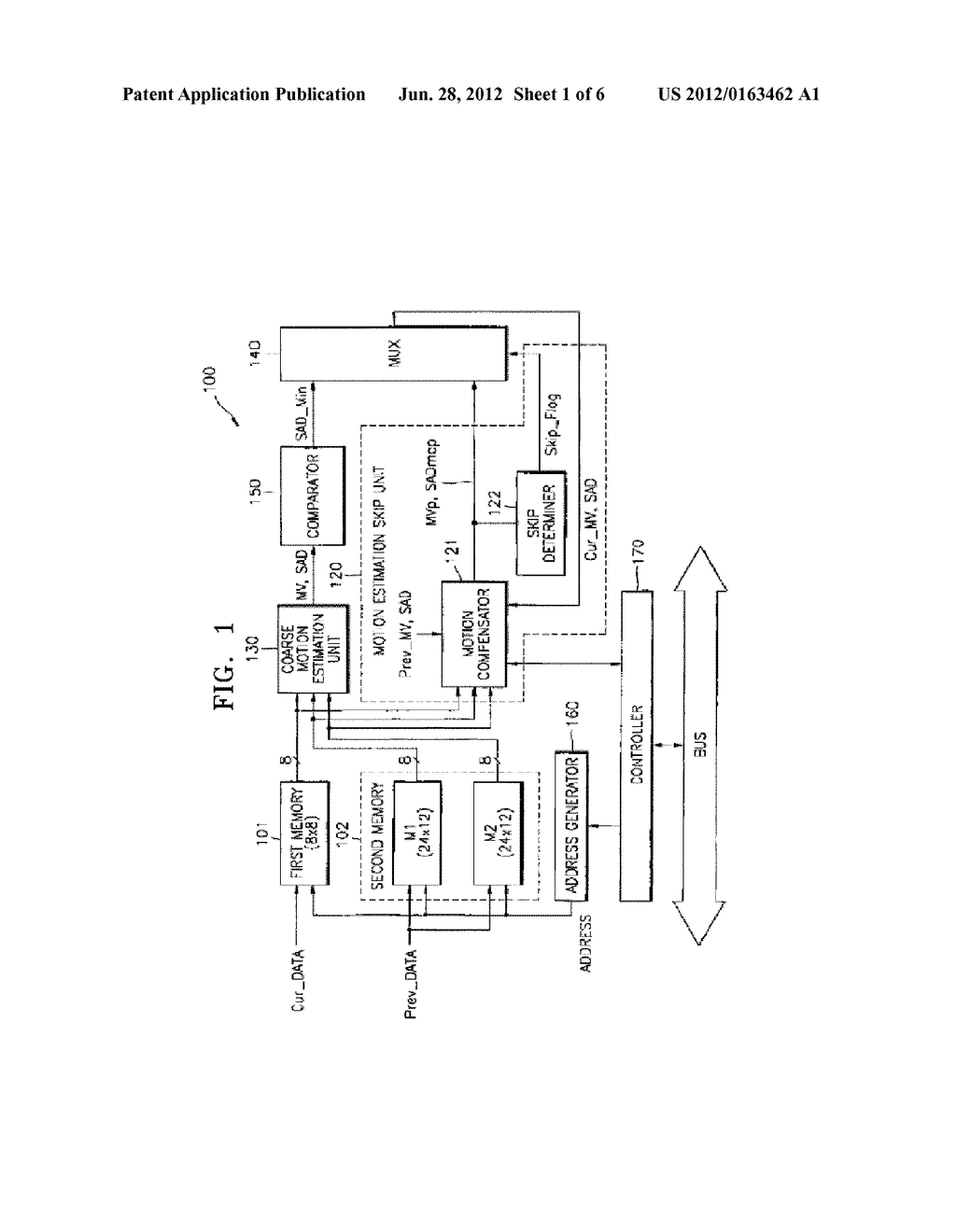 MOTION ESTIMATION APPARATUS AND METHOD USING PREDICTION ALGORITHM BETWEEN     MACROBLOCKS - diagram, schematic, and image 02