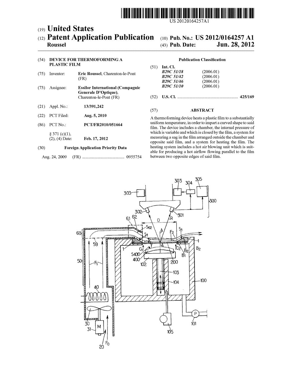 DEVICE FOR THERMOFORMING A PLASTIC FILM - diagram, schematic, and image 01