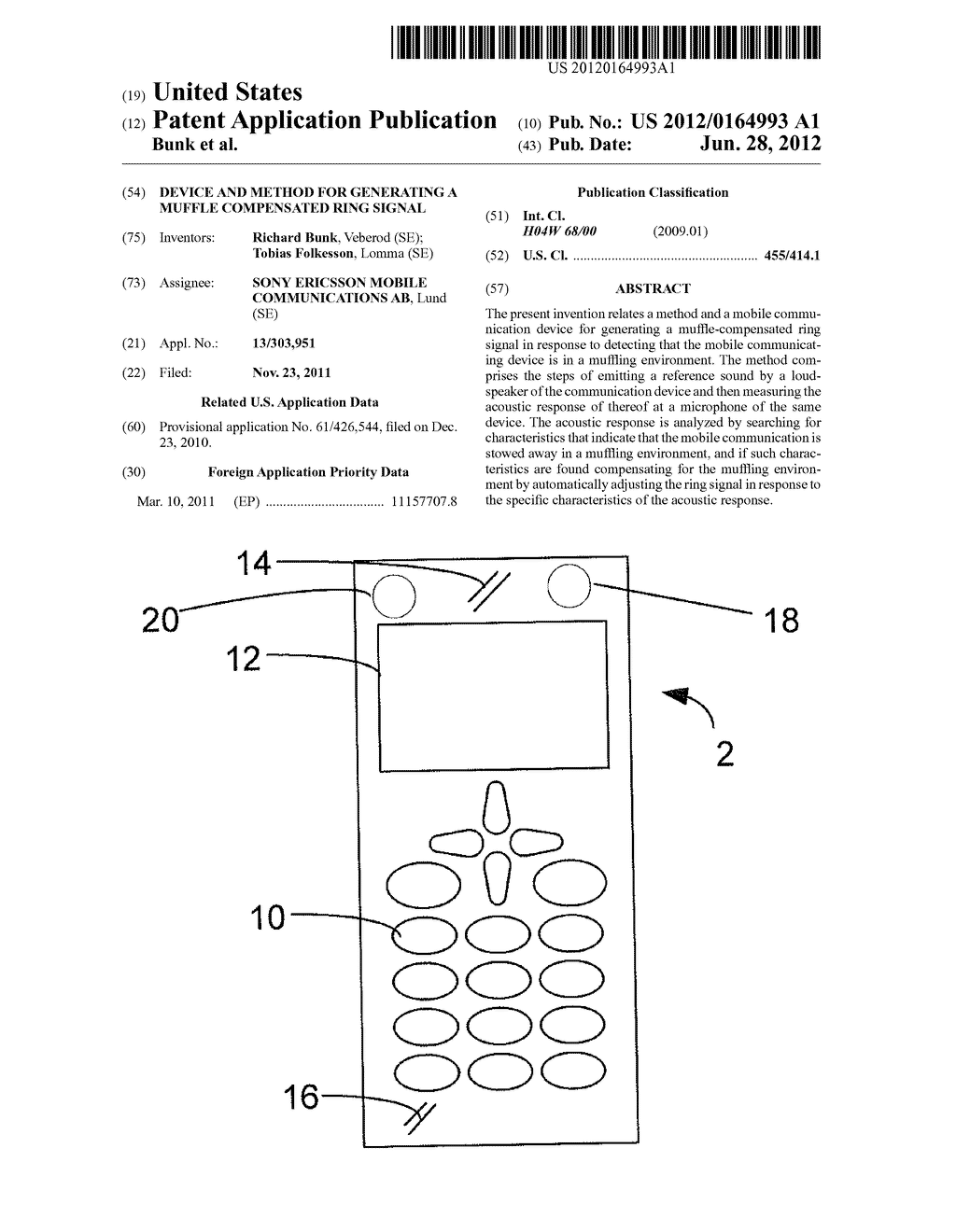 DEVICE AND METHOD FOR GENERATING A MUFFLE COMPENSATED RING SIGNAL - diagram, schematic, and image 01