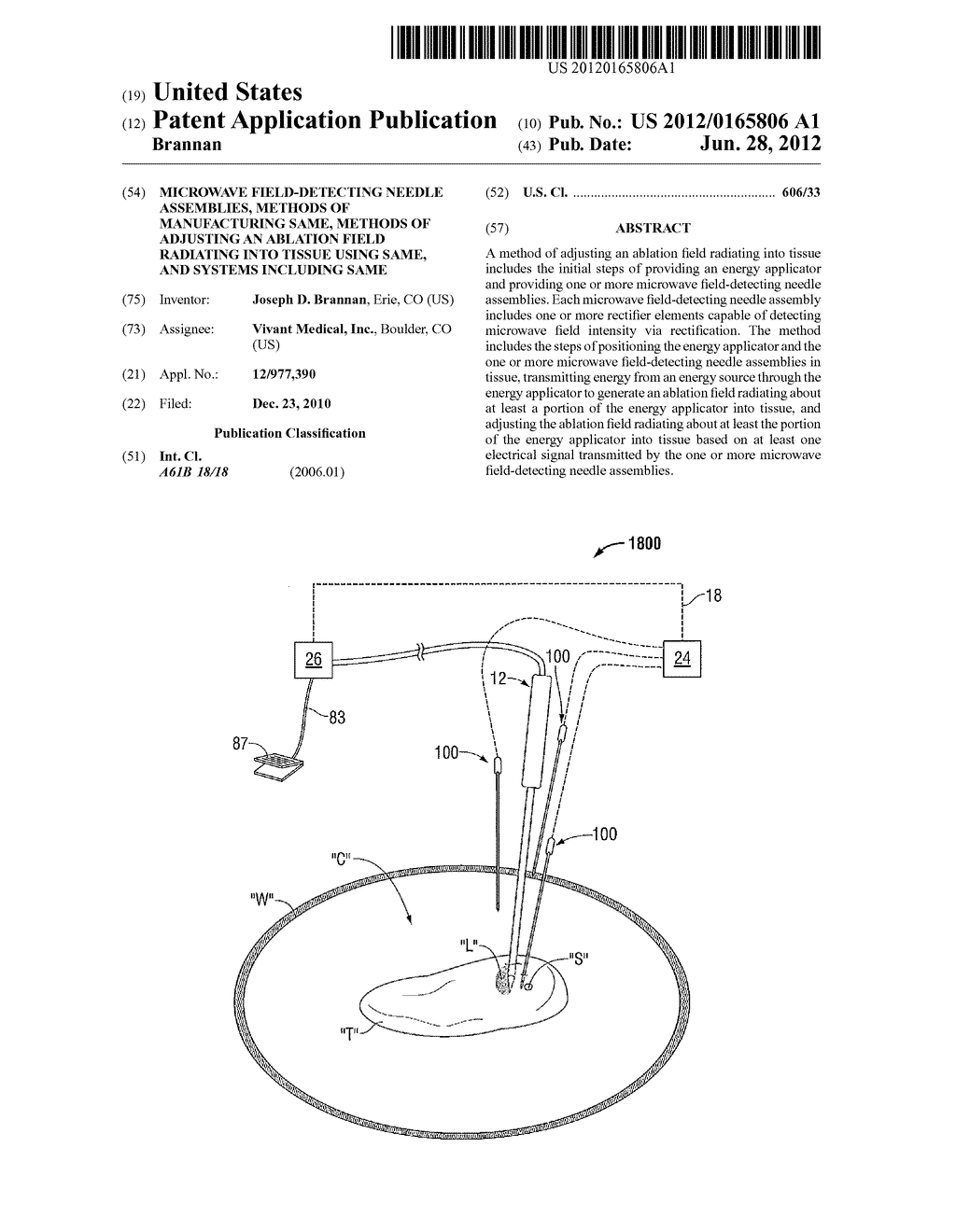 Microwave Field-Detecting Needle Assemblies, Methods of Manufacturing     Same, Methods of Adjusting an Ablation Field Radiating into Tissue using     Same, and Systems Including Same - diagram, schematic, and image 01