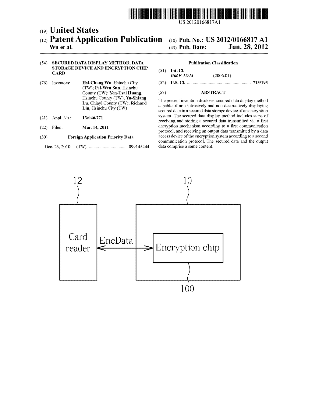 Secured Data Display Method, Data Storage Device and Encryption Chip Card - diagram, schematic, and image 01