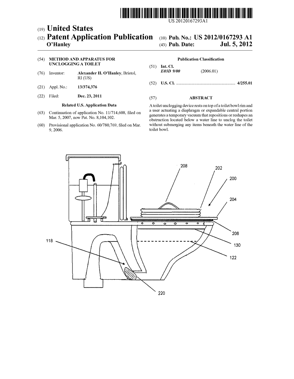 Method and apparatus for unclogging a toilet - diagram, schematic, and image 01