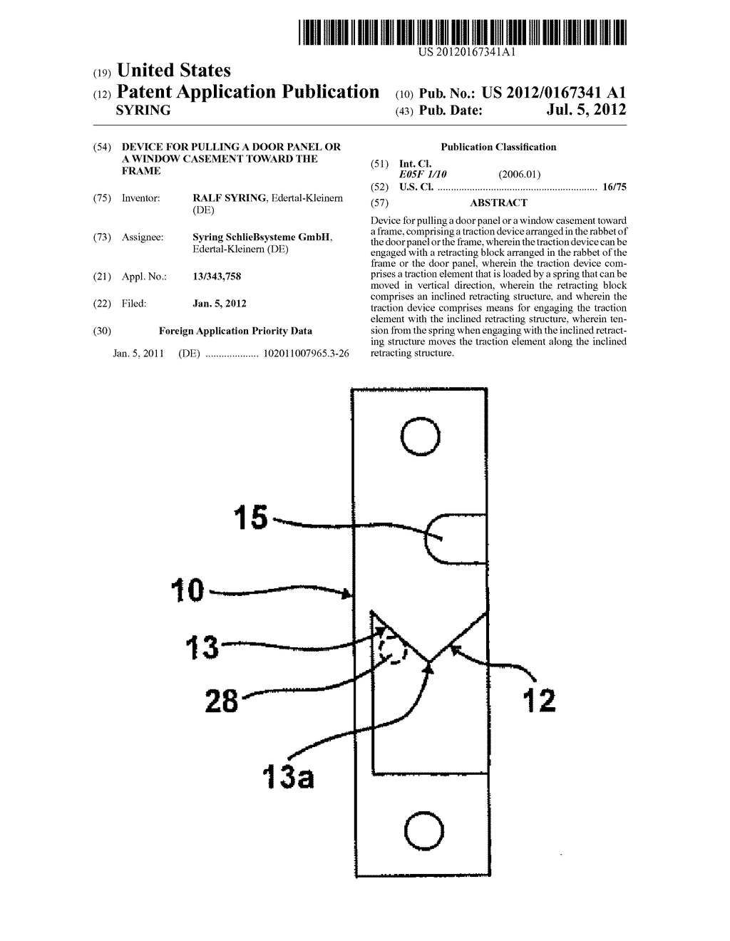 DEVICE FOR PULLING A DOOR PANEL OR A WINDOW CASEMENT TOWARD THE FRAME - diagram, schematic, and image 01