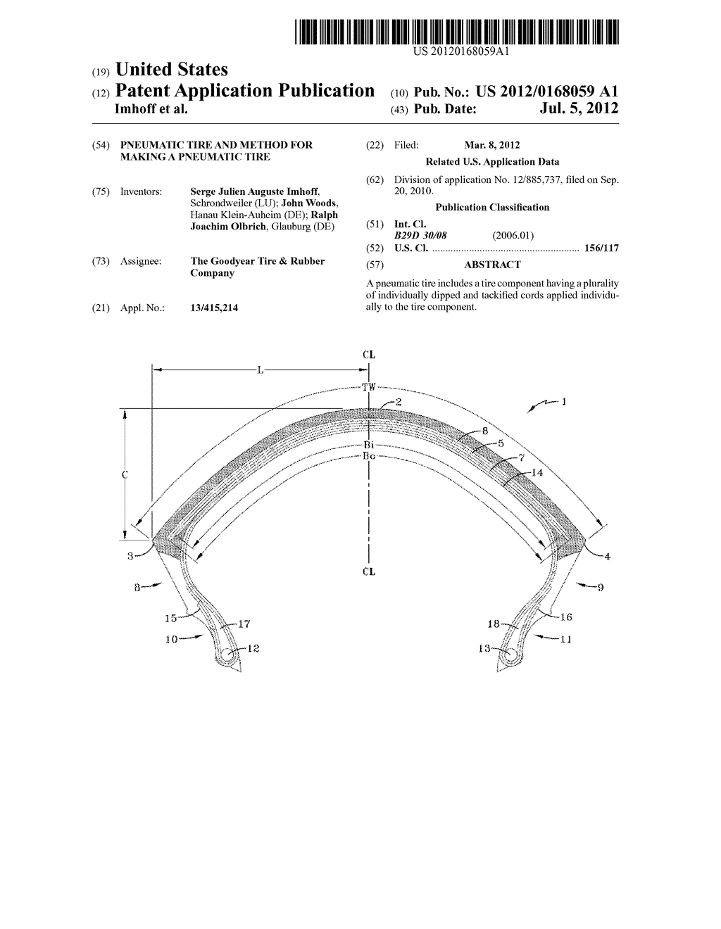 PNEUMATIC TIRE AND METHOD FOR MAKING A PNEUMATIC TIRE - diagram, schematic, and image 01