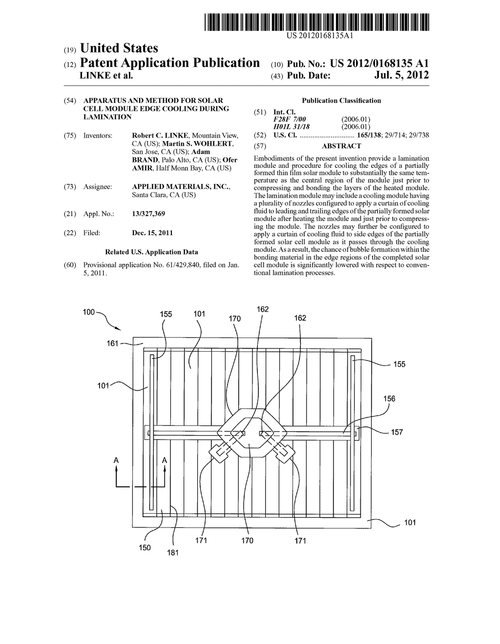 APPARATUS AND METHOD FOR SOLAR CELL MODULE EDGE COOLING DURING LAMINATION - diagram, schematic, and image 01