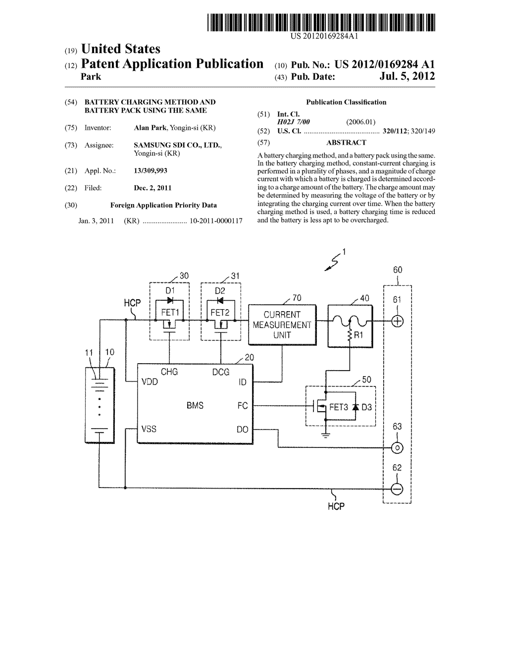 Battery Charging Method and Battery Pack Using the Same - diagram, schematic, and image 01