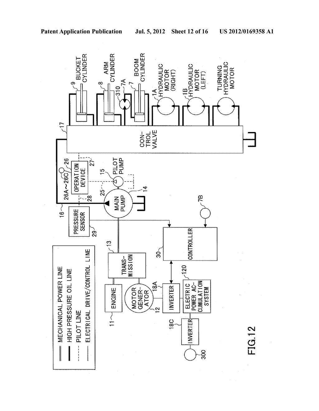 CONTROL METHOD AND A CONTROL APPARATUS IN A HYBRID TYPE CONSTRUCTION     APPARATUS - diagram, schematic, and image 13