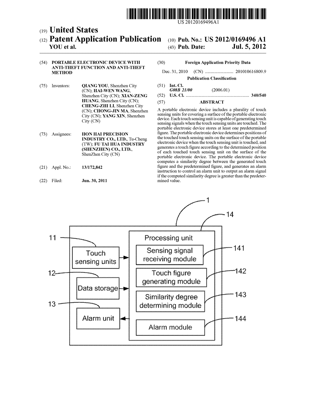 PORTABLE ELECTRONIC DEVICE WITH ANTI-THEFT FUNCTION AND ANTI-THEFT METHOD - diagram, schematic, and image 01