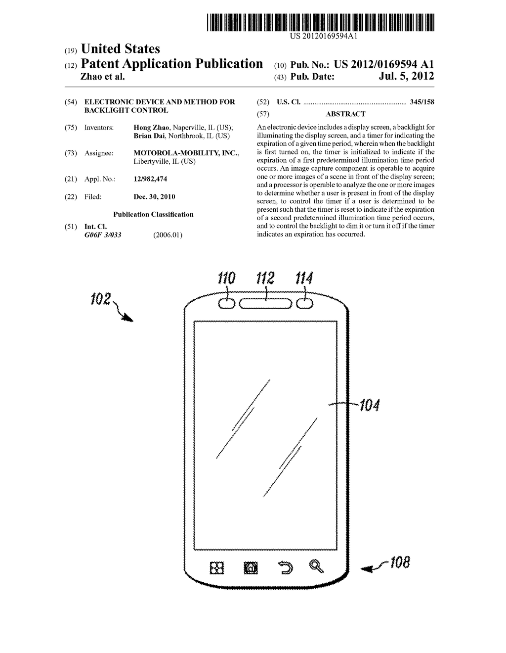 ELECTRONIC DEVICE AND METHOD FOR BACKLIGHT CONTROL - diagram, schematic, and image 01