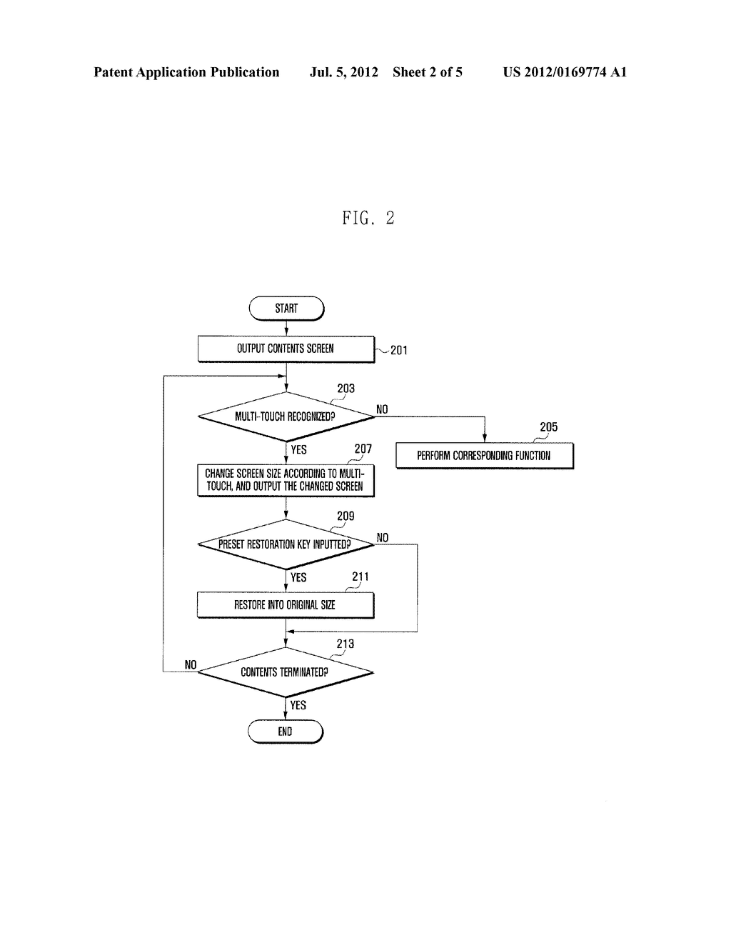 METHOD AND APPARATUS FOR CHANGING A SIZE OF SCREEN USING MULTI-TOUCH - diagram, schematic, and image 03