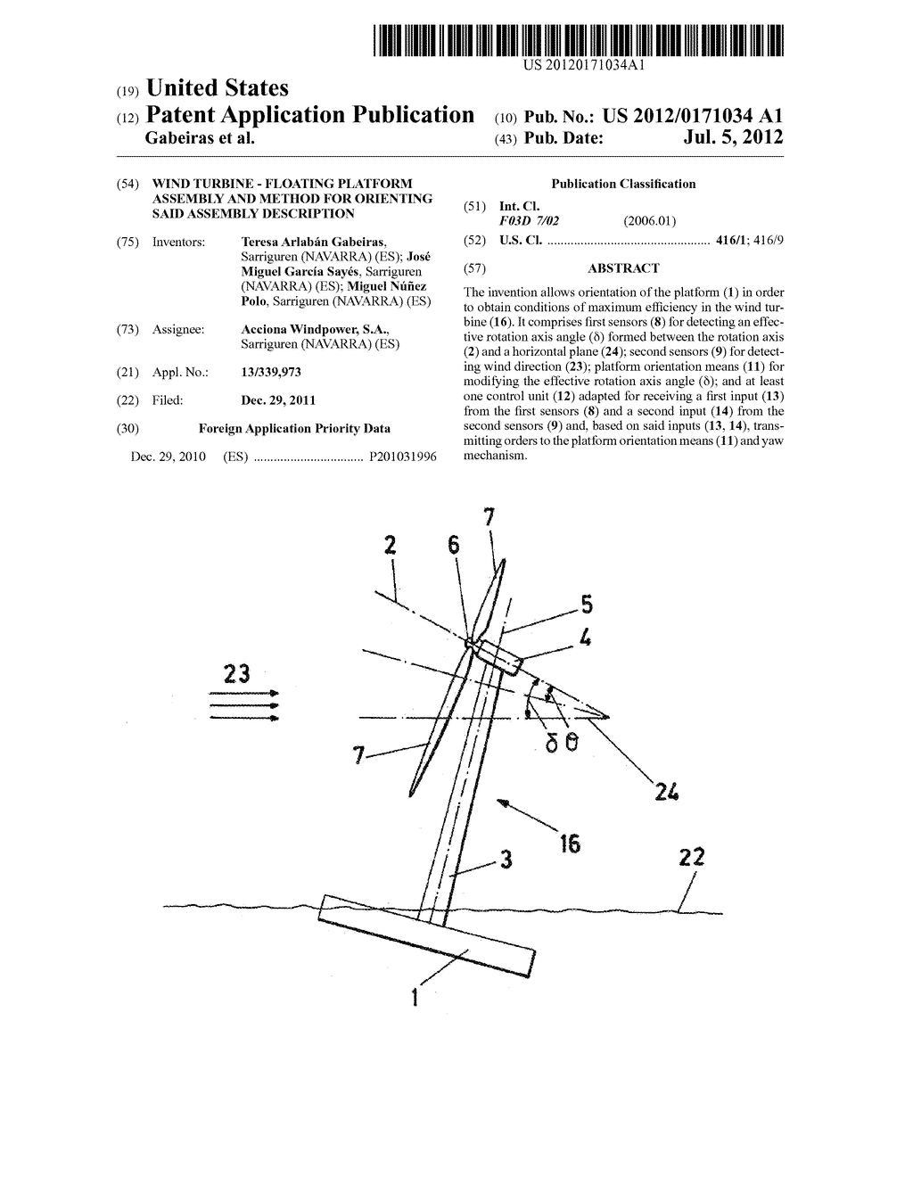 WIND TURBINE - FLOATING PLATFORM ASSEMBLY AND METHOD FOR ORIENTING SAID     ASSEMBLY DESCRIPTION - diagram, schematic, and image 01